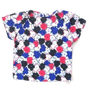 Vtg 80's Red White and Blue Floral Blouse small